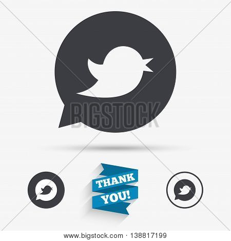 Bird icon. Social media sign. Short messages symbol. Speech bubble. Flat icons. Buttons with icons. Thank you ribbon. Vector