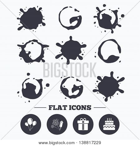 Paint, coffee or milk splash blots. Birthday party icons. Cake and gift box signs. Air balloons and fireworks symbol. Smudges splashes drops. Vector