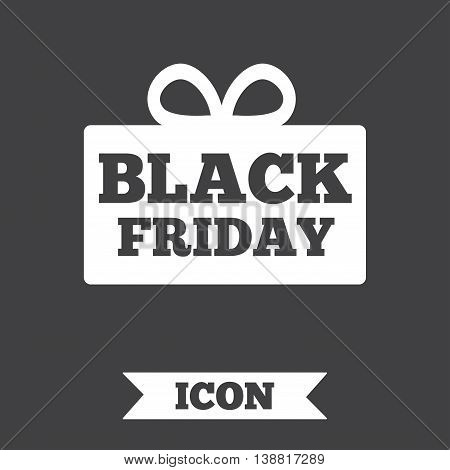 Black friday gift sign icon. Sale symbol. Special offer label. Graphic design element. Flat black friday symbol on dark background. Vector