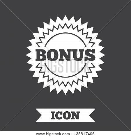 Bonus sign icon. Special offer star symbol. Graphic design element. Flat bonus symbol on dark background. Vector