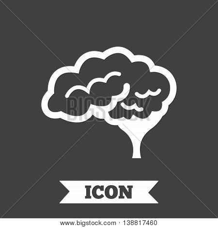 Brain with cerebellum sign icon. Human intelligent smart mind. Graphic design element. Flat neurology symbol on dark background. Vector