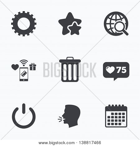 Globe magnifier glass and cogwheel gear icons. Recycle bin delete and power sign symbols. Flat talking head, calendar icons. Stars, like counter icons. Vector