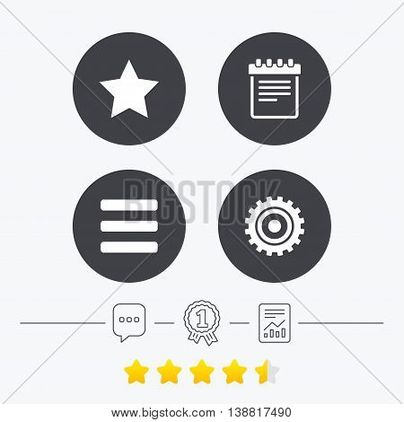 Star favorite and menu list icons. Notepad and cogwheel gear sign symbols. Chat, award medal and report linear icons. Star vote ranking. Vector