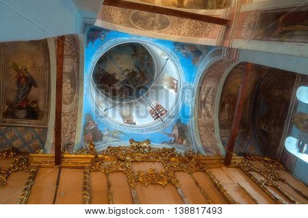 VELIKY NOVGOROD RUSSIA -JULY 15 2016. Decorative architecture elements- decorated dome with windows and paintings with Bible scenes - in the interior of Saint Nicholas Cathedral. Soft filter applied