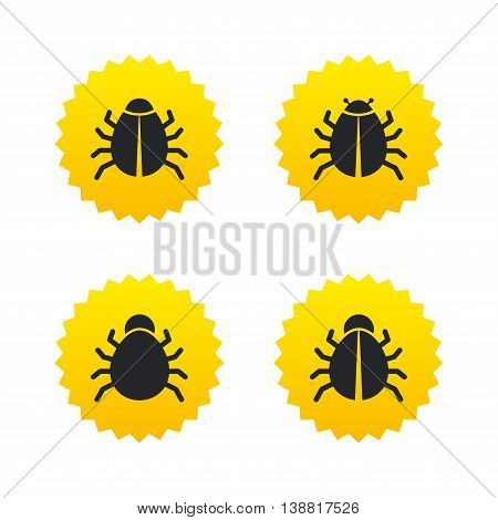 Bugs vaccination icons. Virus software error sign symbols. Yellow stars labels with flat icons. Vector