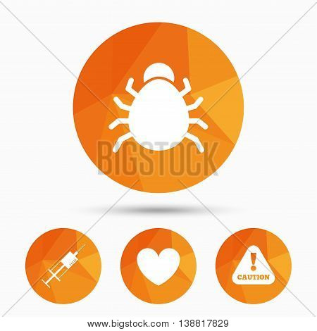 Bug and vaccine syringe injection icons. Heart and caution with exclamation sign symbols. Triangular low poly buttons with shadow. Vector