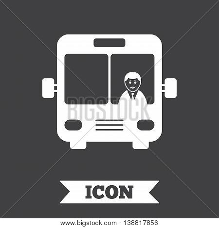 Bus sign icon. Public transport with driver symbol. Graphic design element. Flat bus symbol on dark background. Vector