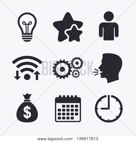 Business icons. Human silhouette and lamp bulb idea signs. Dollar money bag and gear symbols. Wifi internet, favorite stars, calendar and clock. Talking head. Vector