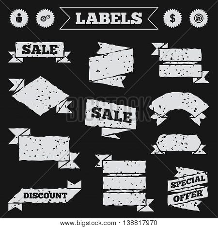 Stickers, tags and banners with grunge. Business icons. Human silhouette and aim targer with arrow signs. Dollar currency and gear symbols. Sale or discount labels. Vector
