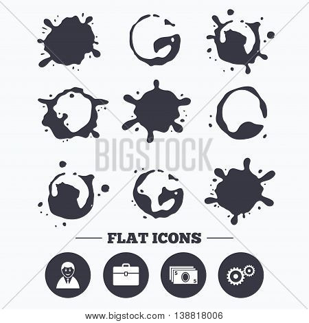 Paint, coffee or milk splash blots. Businessman icons. Human silhouette and cash money signs. Case and gear symbols. Smudges splashes drops. Vector