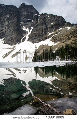 Crypt Lake and its reflection, Waterton Lakes National Park, Canada