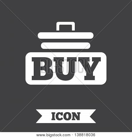 Buy sign icon. Online buying cart button. Graphic design element. Flat buy symbol on dark background. Vector