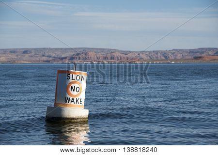 Slow No Wake Buoy at the Bullfrog Marina