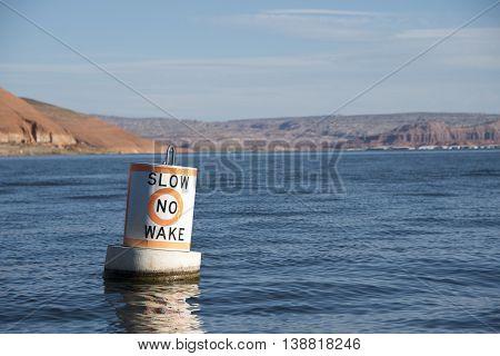 Slow No Wake Marker at the Bullfrog Marina