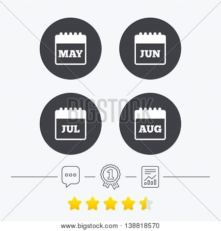 Calendar icons. May, June, July and August month symbols. Date or event reminder sign. Chat, award medal and report linear icons. Star vote ranking. Vector