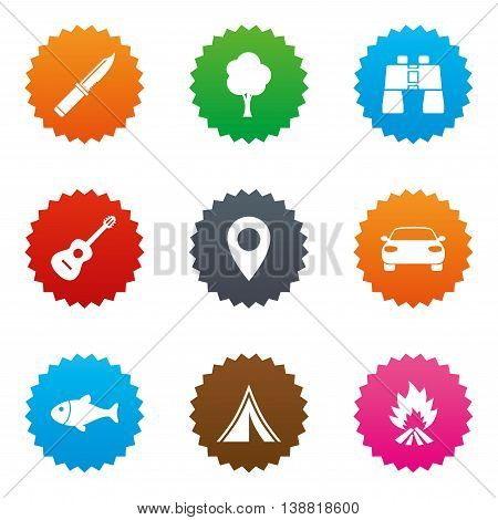 Camping, tourism icons. Fishing, campfire and tent signs. Guitar music, knife and binoculars instruments. Stars label button with flat icons. Vector