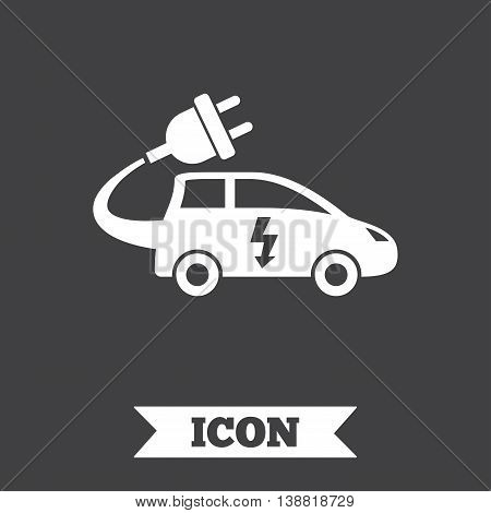 Electric car sign icon. Hatchback symbol. Electric vehicle transport. Graphic design element. Flat car symbol on dark background. Vector
