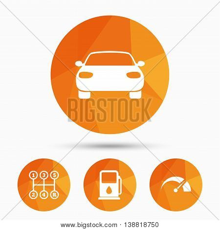 Transport icons. Car tachometer and manual transmission symbols. Petrol or Gas station sign. Triangular low poly buttons with shadow. Vector