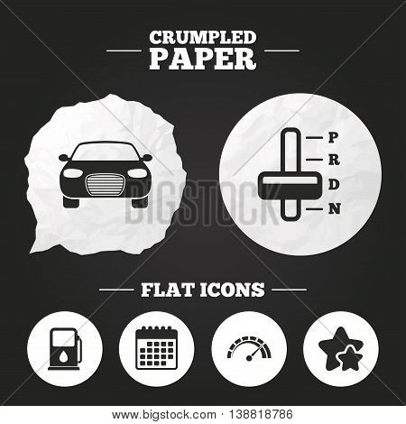 Crumpled paper speech bubble. Transport icons. Car tachometer and automatic transmission symbols. Petrol or Gas station sign. Paper button. Vector