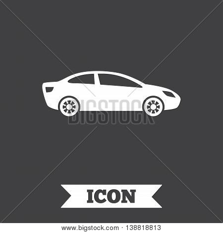 Car sign icon. Sedan saloon symbol. Transport. Graphic design element. Flat car symbol on dark background. Vector