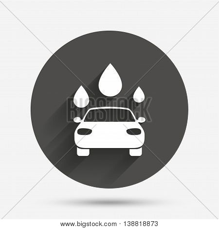 Car wash icon. Automated teller carwash symbol. Water drops signs. Circle flat button with shadow. Vector