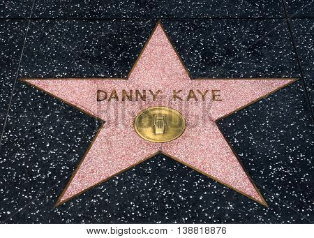 HOLLYWOOD CA/USA - JULY 9 2016: Danny Kaye star on the Hollywood walk of fame.