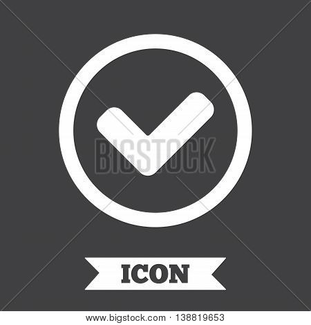 Check mark sign icon. Yes circle symbol. Confirm approved. Graphic design element. Flat tick symbol on dark background. Vector