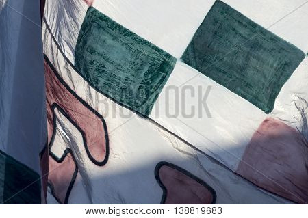 Rio de Janeiro Brazil - April 10 2016: Detail of the flag of a fan in match between Fluminense and Cruzeiro by the Brazilian championship in the Giulite Coutinho Stadium