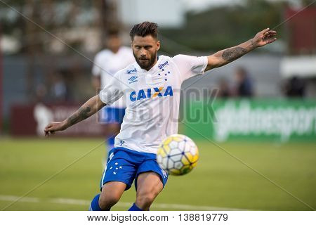 Rio de Janeiro Brazil - April 10 2016: Rafael Sobis player in match between Fluminense and Cruzeiro by the Brazilian championship in the Giulite Coutinho Stadium