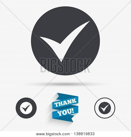 Check sign icon. Yes symbol. Confirm. Flat icons. Buttons with icons. Thank you ribbon. Vector