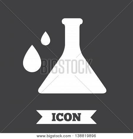 Chemistry sign icon. Bulb symbol with drops. Lab icon. Graphic design element. Flat chemistry symbol on dark background. Vector