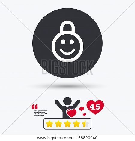 Child lock icon. Locker with smile symbol. Child protection. Star vote ranking. Person with heart. Quotes with message. Vector