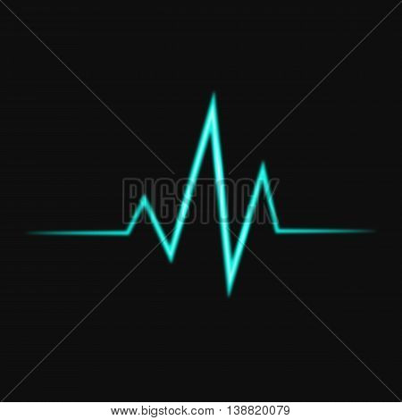 Abstract bright heart pulse icon vector illustration