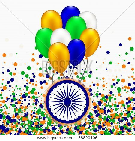 India Independence Day concept with balloons in traditional colors - saffron green navy blue.