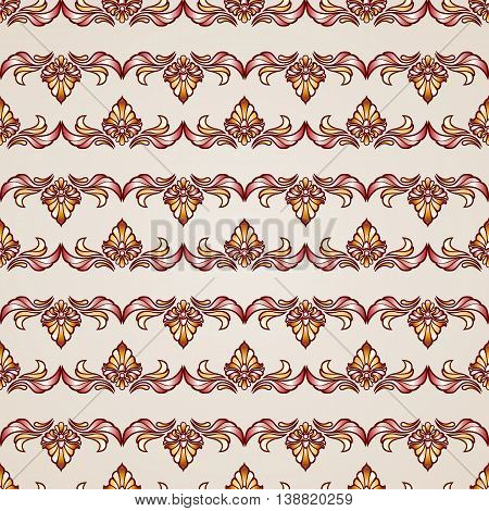Stripy floral seamless pattern in brown and beige colors EPS10