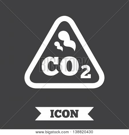 CO2 carbon dioxide formula sign icon. Chemistry symbol. Graphic design element. Flat carbon symbol on dark background. Vector