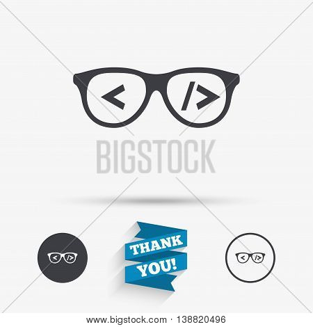 Coder sign icon. Programmer symbol. Glasses icon. Flat icons. Buttons with icons. Thank you ribbon. Vector