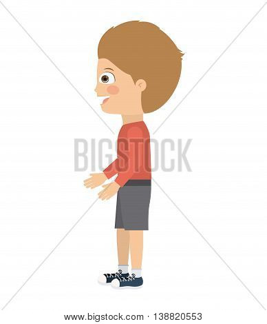 boy standing looking aside isolated icon design, vector illustration  graphic