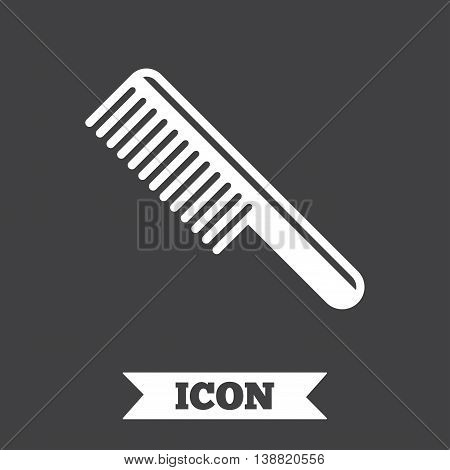 Comb hair sign icon. Barber symbol. Graphic design element. Flat comb symbol on dark background. Vector