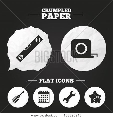 Crumpled paper speech bubble. Screwdriver and wrench key tool icons. Bubble level and tape measure roulette sign symbols. Paper button. Vector