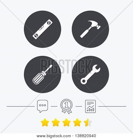 Screwdriver and wrench key tool icons. Bubble level and hammer sign symbols. Chat, award medal and report linear icons. Star vote ranking. Vector