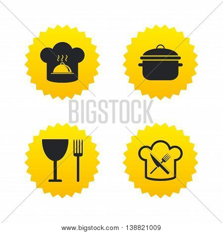 Chief hat and cooking pan icons. Crosswise fork and knife signs. Boil or stew food symbols. Yellow stars labels with flat icons. Vector