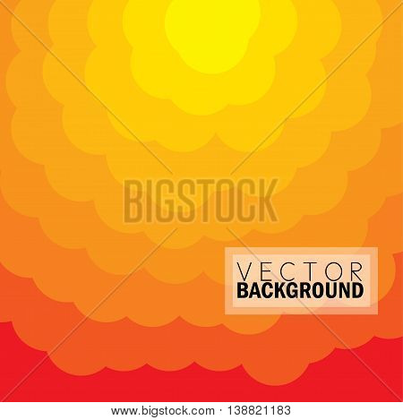 Evening Sunset Sky With Sun At The Top And Cicle Of Clouds In Yellow Orange Colors - Vector Graphic