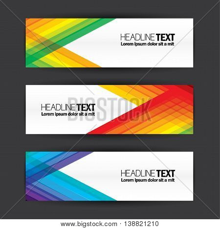 Colorful Business Banners Flat Design Template Vector Set.