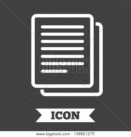 Copy file sign icon. Duplicate document symbol. Graphic design element. Flat copy symbol on dark background. Vector