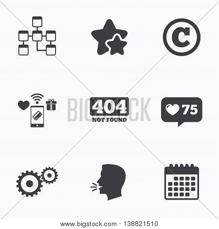 Website database icon. Copyrights and gear signs. 404 page not found symbol. Under construction. Flat talking head, calendar icons. Stars, like counter icons. Vector