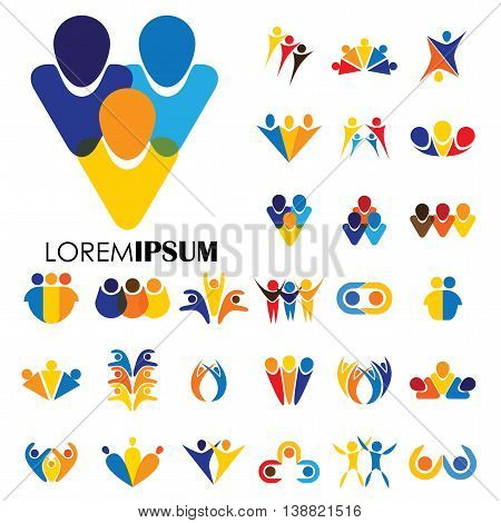 Vector Logo Icon Designs Of People, Children, Friendship