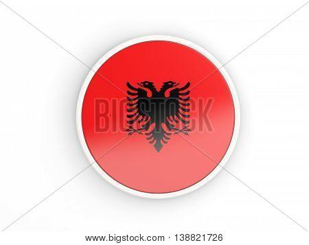 Flag Of Albania. Round Icon With Frame