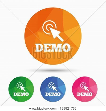 Demo with cursor sign icon. Demonstration symbol. Triangular low poly button with flat icon. Vector