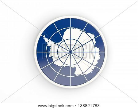 Flag Of Antarctica. Round Icon With Frame
